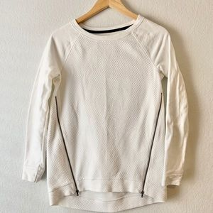 Lou + Grey | White Crew Sweater w/ Zipper Detail